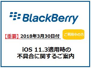 【重要】BlackBerryをご利用中の皆様へ「iOS 11.3適用時の不具合に関するご案内」