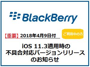 【重要】BlackBerryをご利用中の皆様へ「iOS 11.3適用時の不具合対応バージョンリリースに関するご案内」